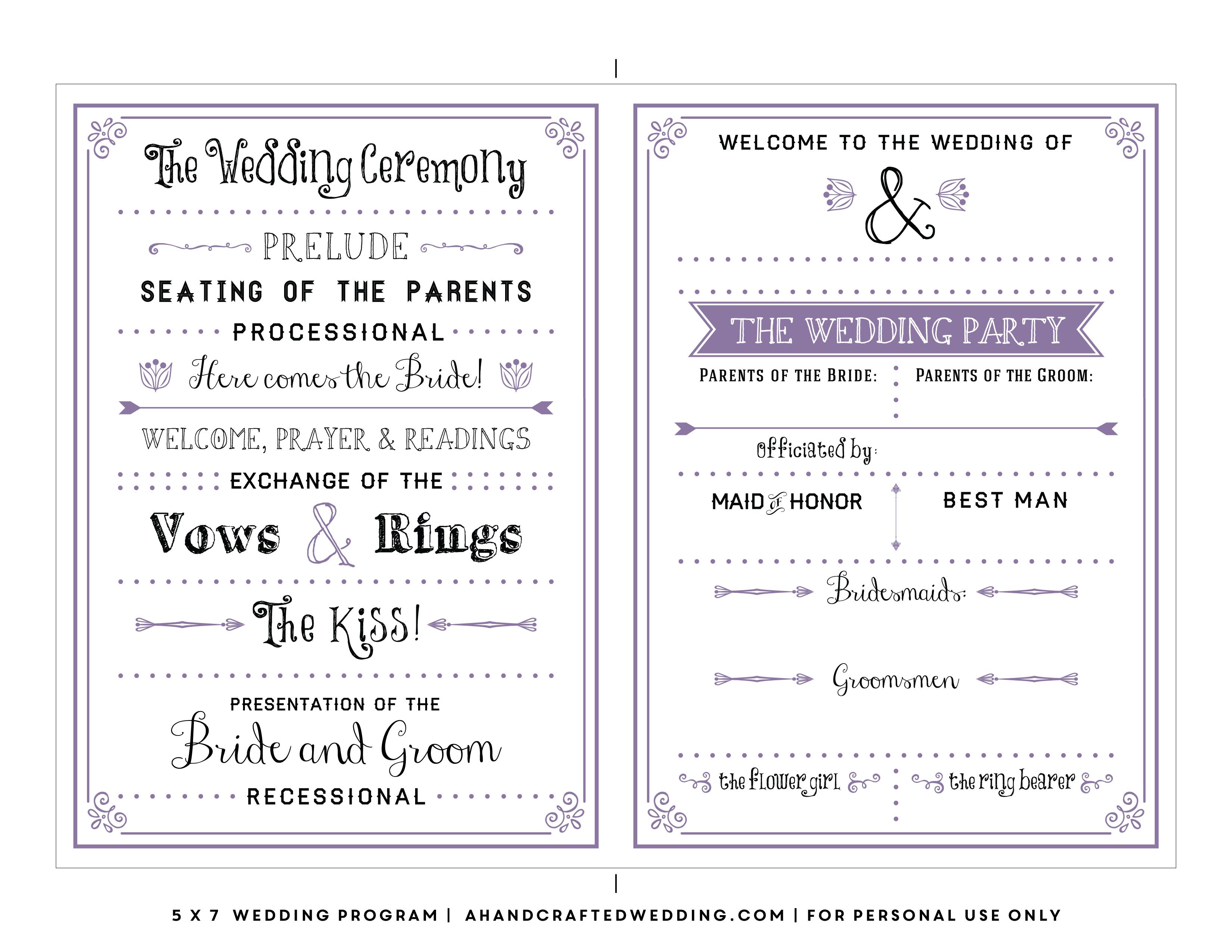 Free Printable Wedding Program Templates Best Template Examples With - Free Printable Wedding Programs