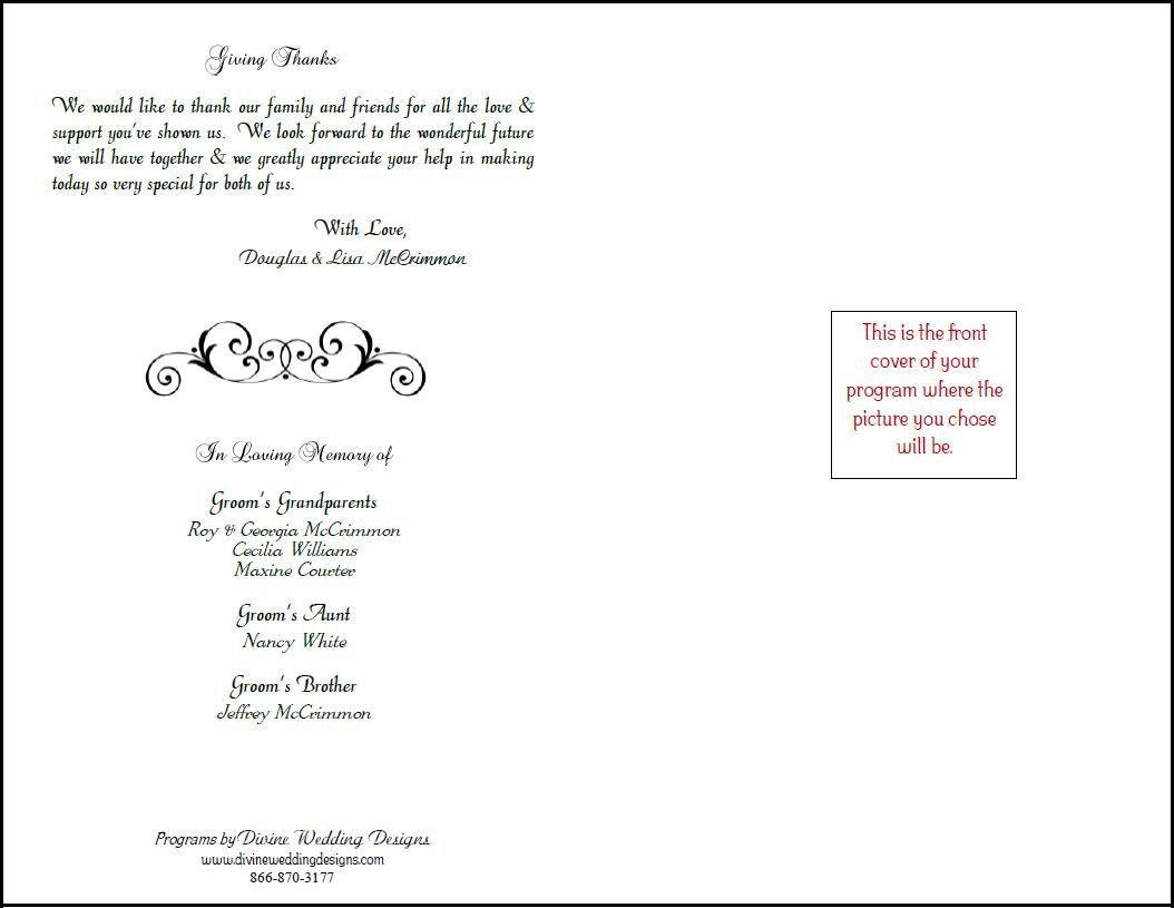 Free Printable Wedding Programs Templates |  Bookfold Wedding - Free Printable Wedding Programs