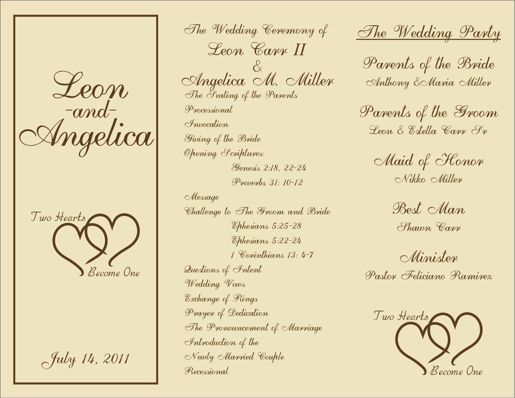 Free Printable Wedding Programs Templates | : Sample Wedding - Free Printable Wedding Programs