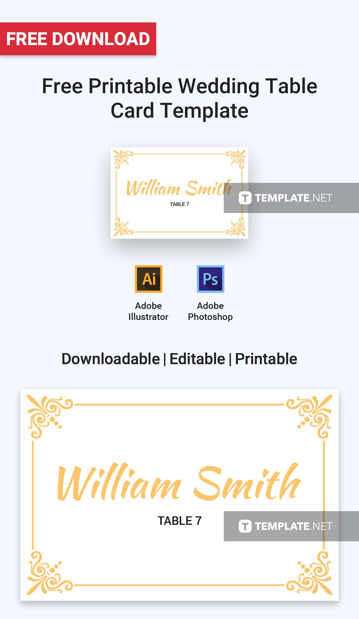 Free Printable Wedding Table Card   Printables, Invitations - Free Printable Place Cards Template
