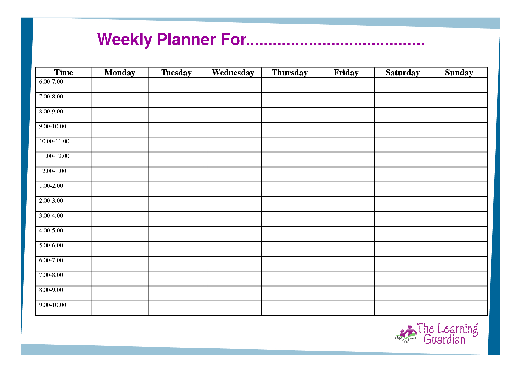 Free Printable Weekly Calendar Templates | Weekly Planner For Time - Free Printable Weekly Schedule