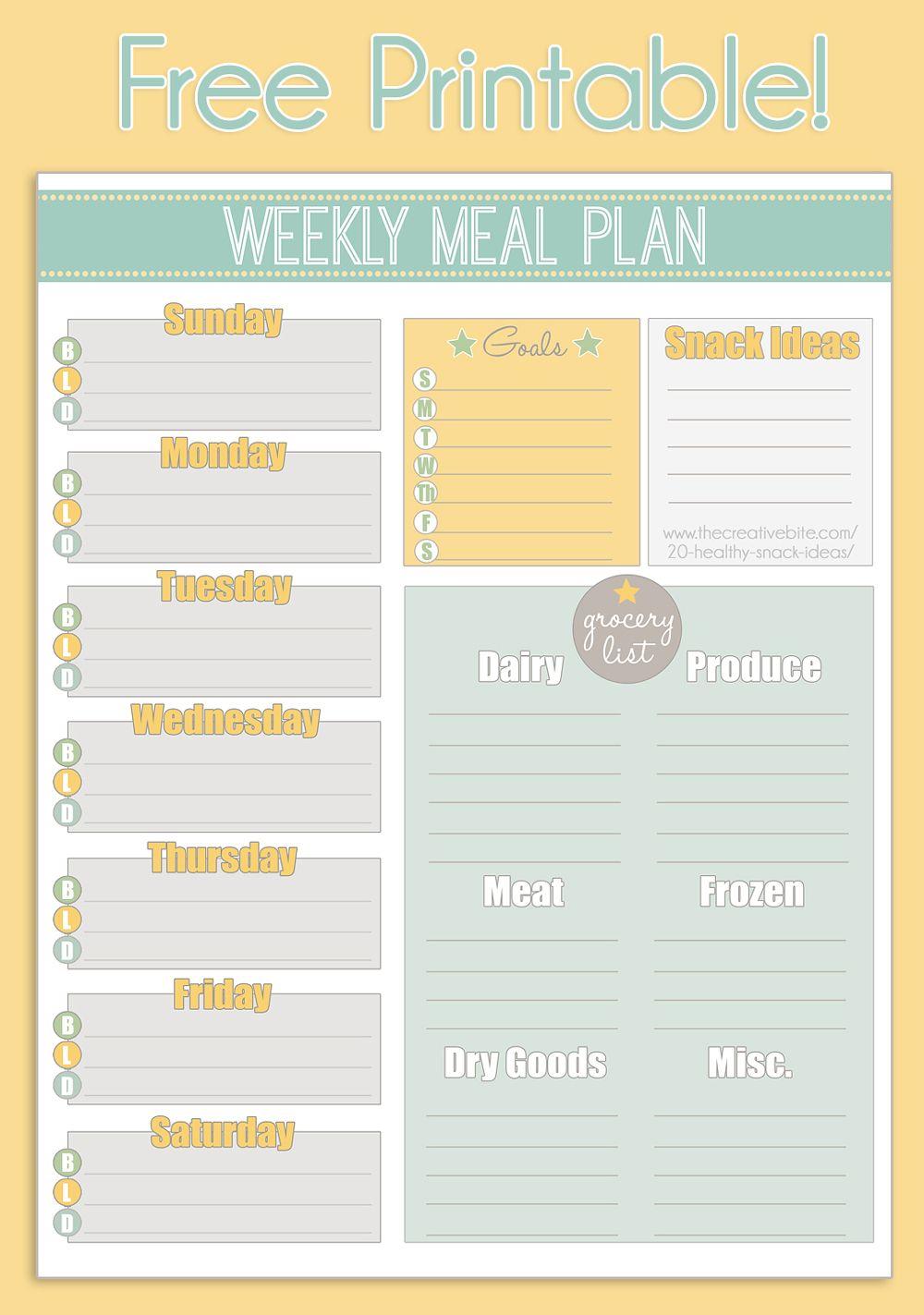 Free Printable Weekly Meal Planner | Printable Planner | Pinterest - Free Printable Weekly Meal Planner