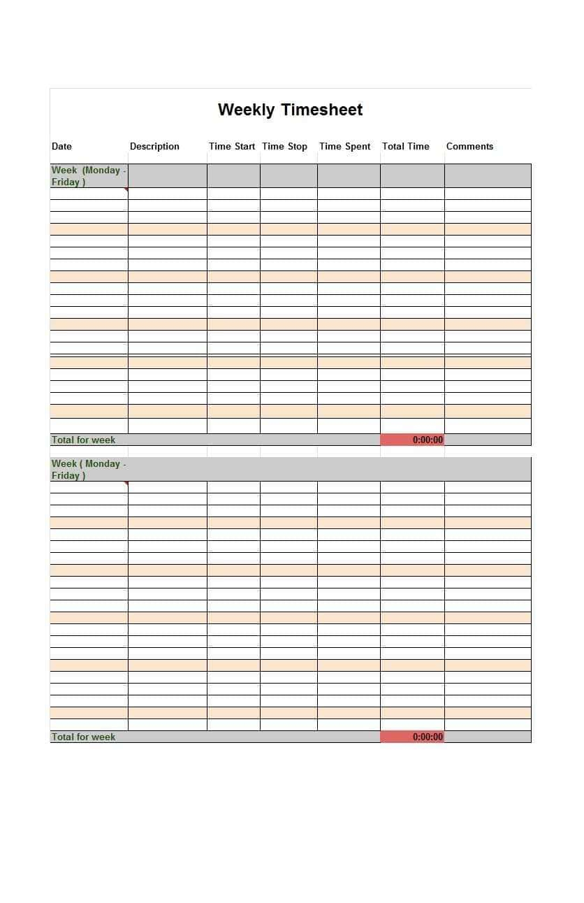 Free Printable Weekly Time Cards And Bi Weekly Time Sheets Printable - Free Printable Time Cards