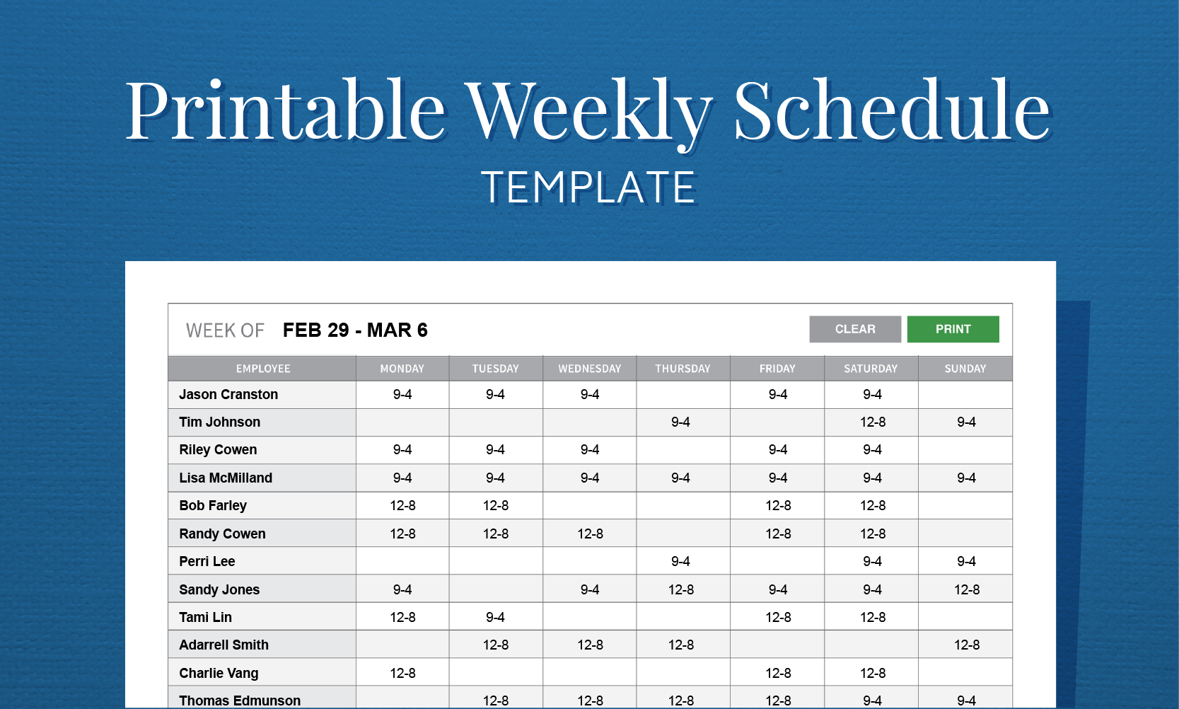 Free Printable Weekly Work Schedule Template For Employee Scheduling - Free Printable Blank Work Schedules