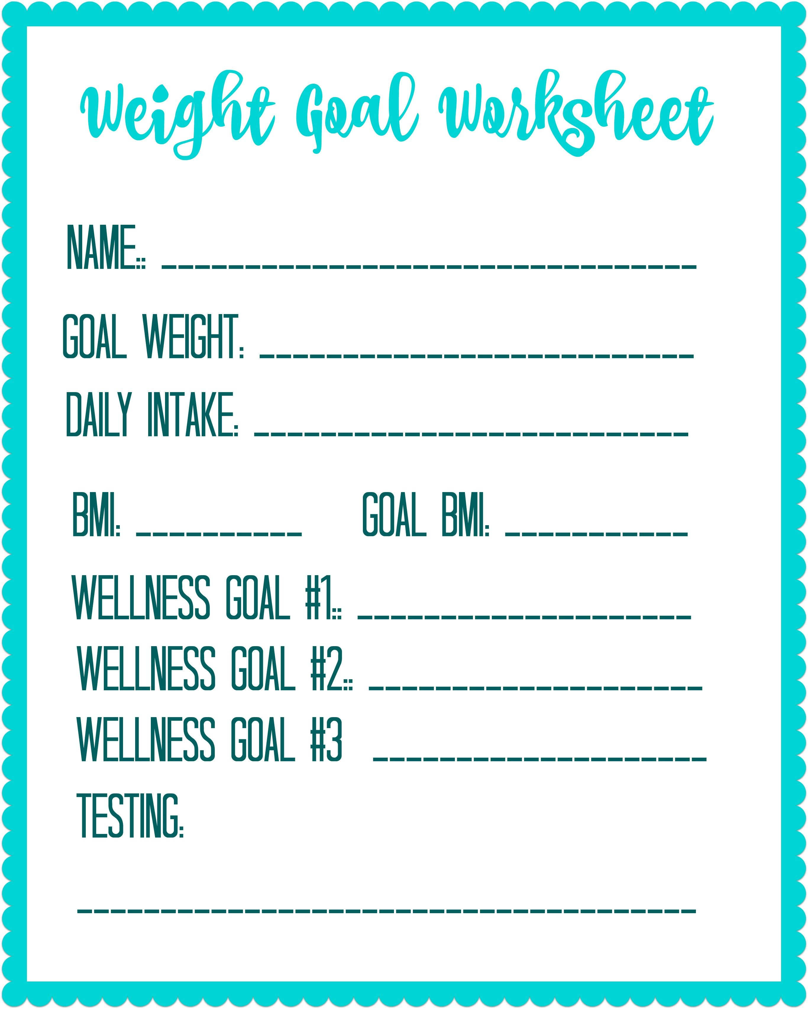 Free Printable Weight Loss Goal Worksheet - Free Printable Fitness Worksheets