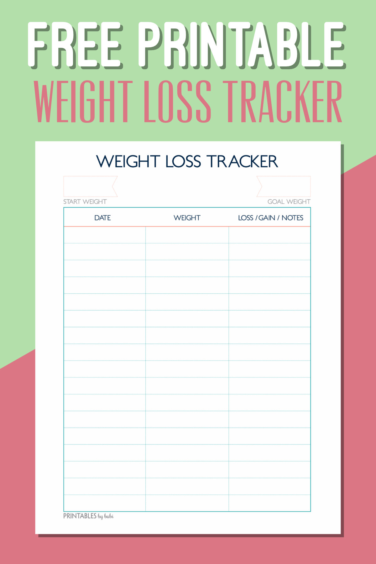 Free Printable Weight Loss Tracker – Instant Download Pdf - Free Printable Weight Loss Graph Chart