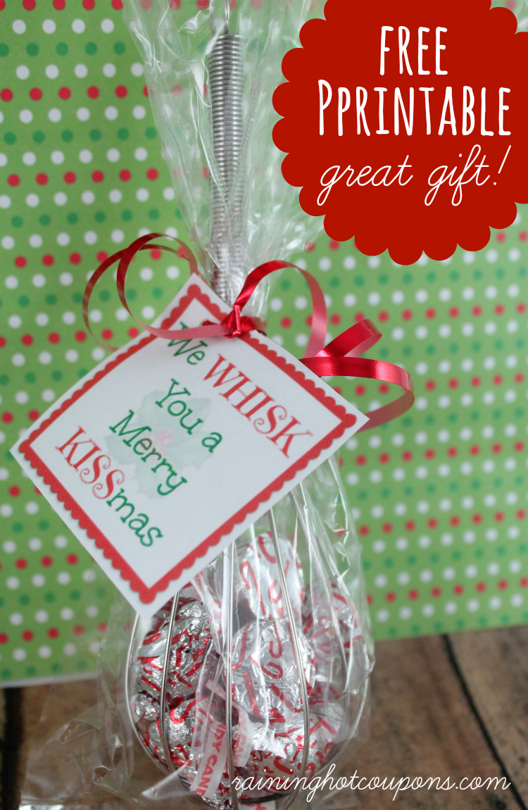 "Free Printable Whisk Label ""We Whisk You A Merry Kissmas"" (Cute Gift - We Wash You A Merry Christmas Free Printable"
