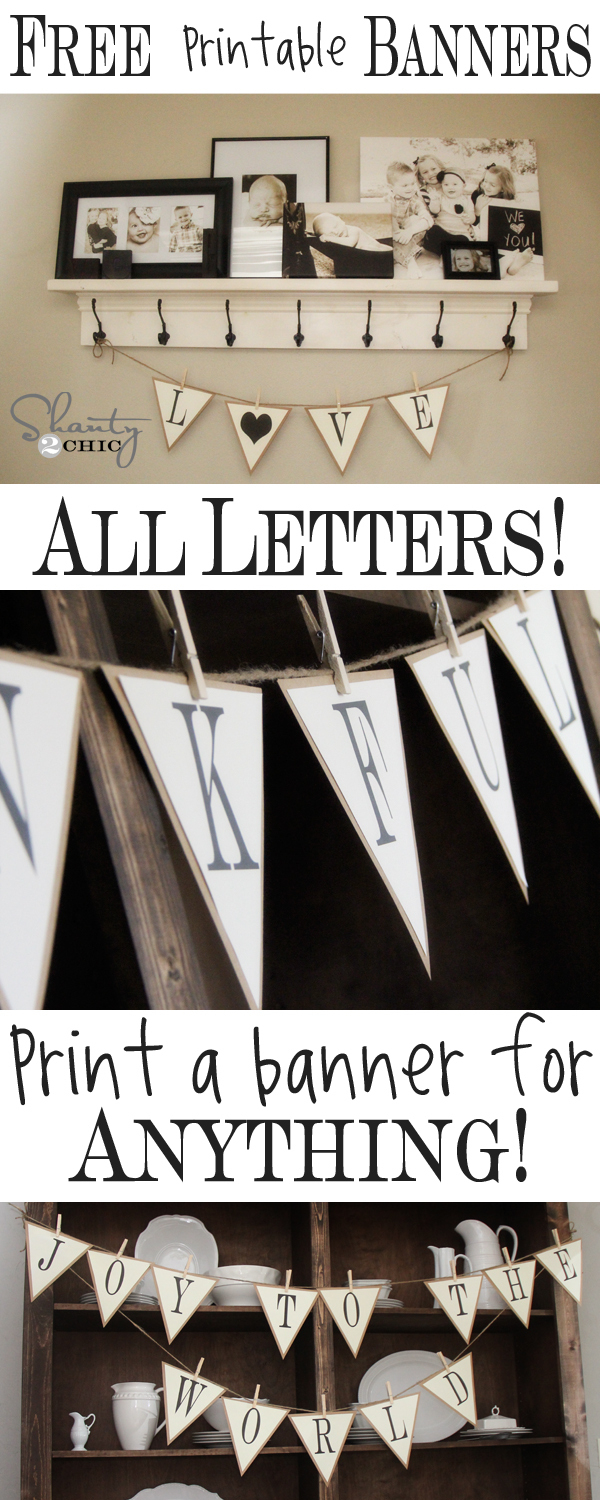 Free Printable Whole Alphabet Banner - Shanty 2 Chic - Free Printable Wedding Banner Letters