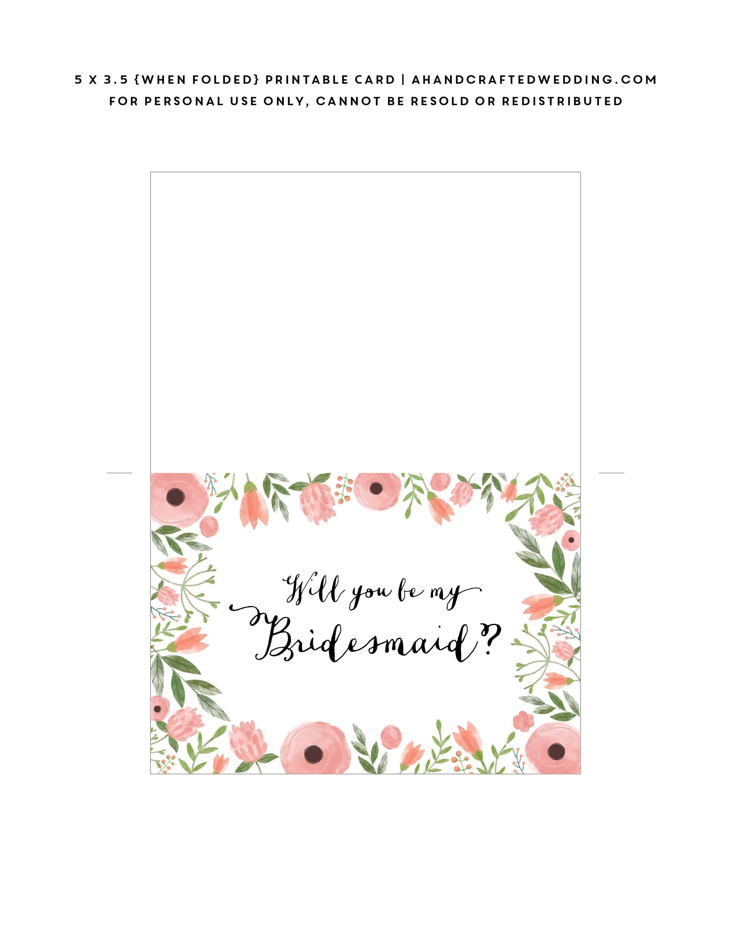 Free Printable Will You Be My Bridesmaid Card   Mountain Modern Life - Free Printable Will You Be My Bridesmaid Cards