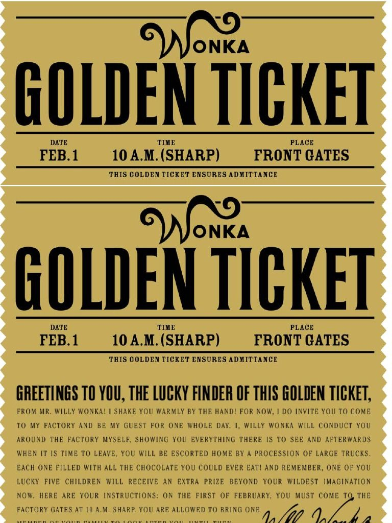 Free Printable Willy Wonka's Golden Ticket--Need To Have A Scrbd - Free Printable Wonka Bar Wrapper Template