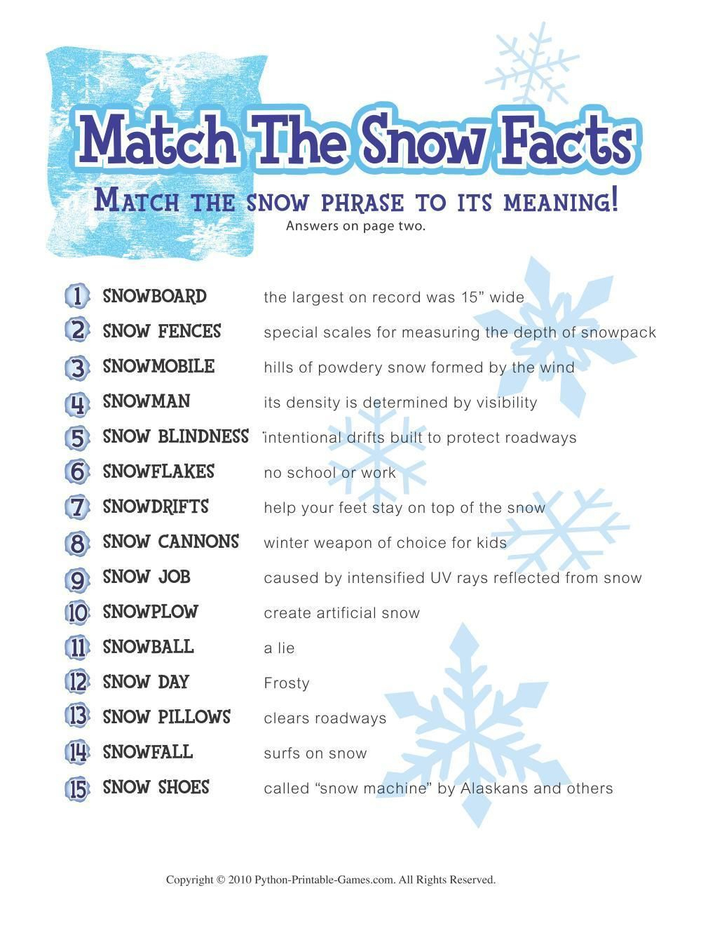 Free Printable Winter Game Match The Snow Facts Download | Fun Party - Free Holiday Games Printable