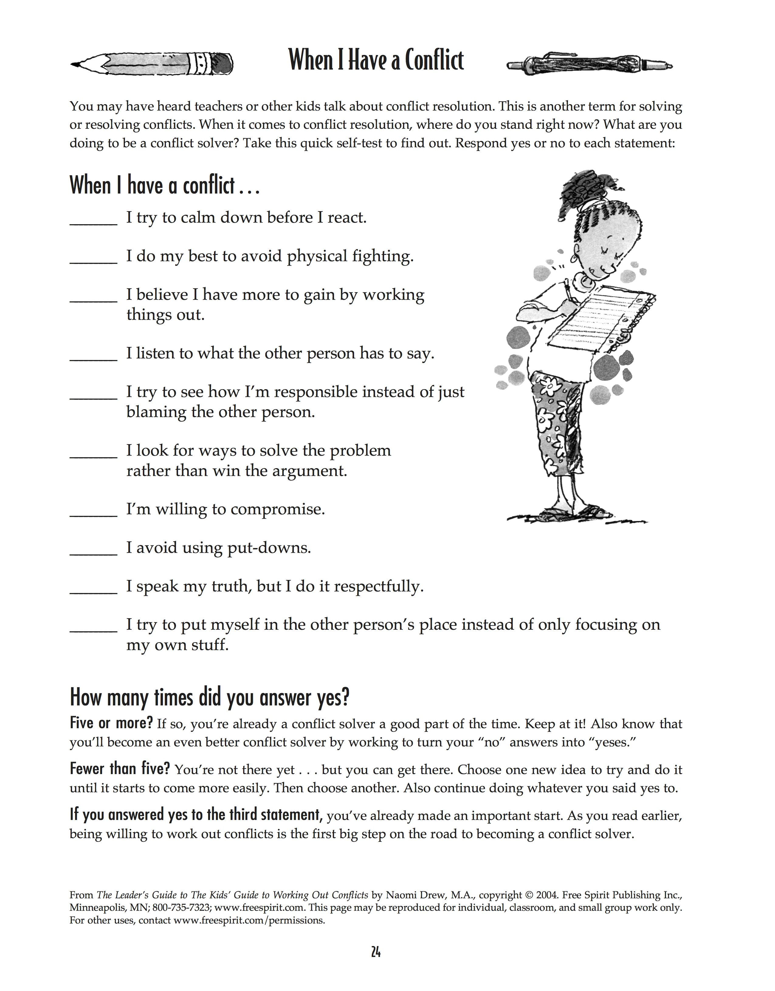 Free Printable Worksheet: When I Have A Conflict. A Quick Self-Test - Free Printable Social Stories Worksheets