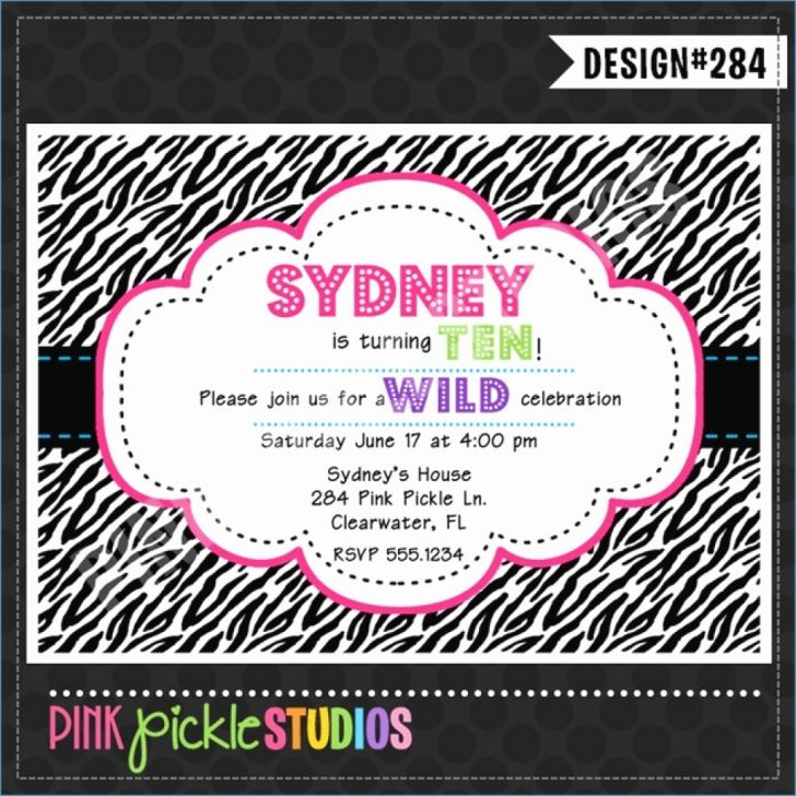 Free Printable Zebra Print Birthday Invitations