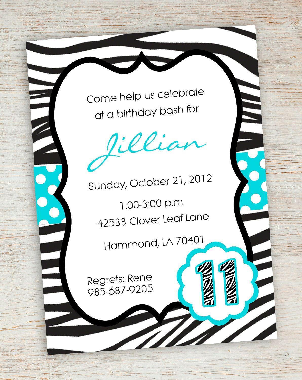 Free Printable Zebra Party Invitations | Printable Pink Turquoise - Free Printable Zebra Print Birthday Invitations