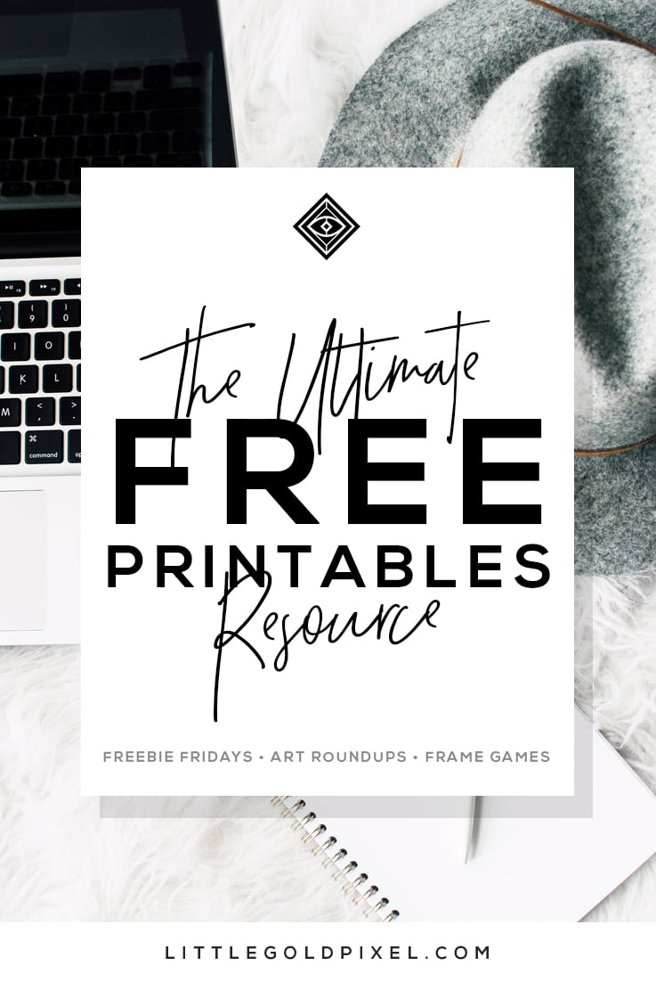 Free Printables • Design & Gallery Wall Resources • Little Gold Pixel - Free Black And White Printable Art
