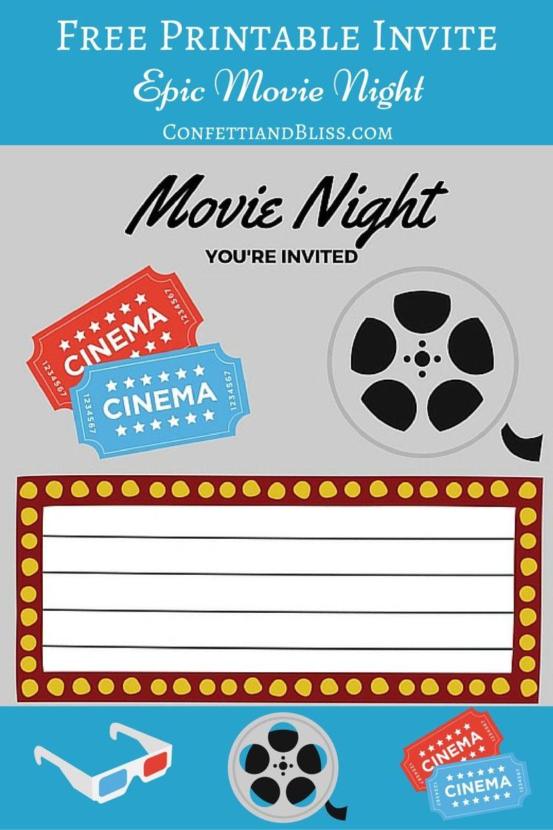 Free Printables | For Him | Movie Night Invitations, Movie Party, Movies - Movie Night Birthday Invitations Free Printable
