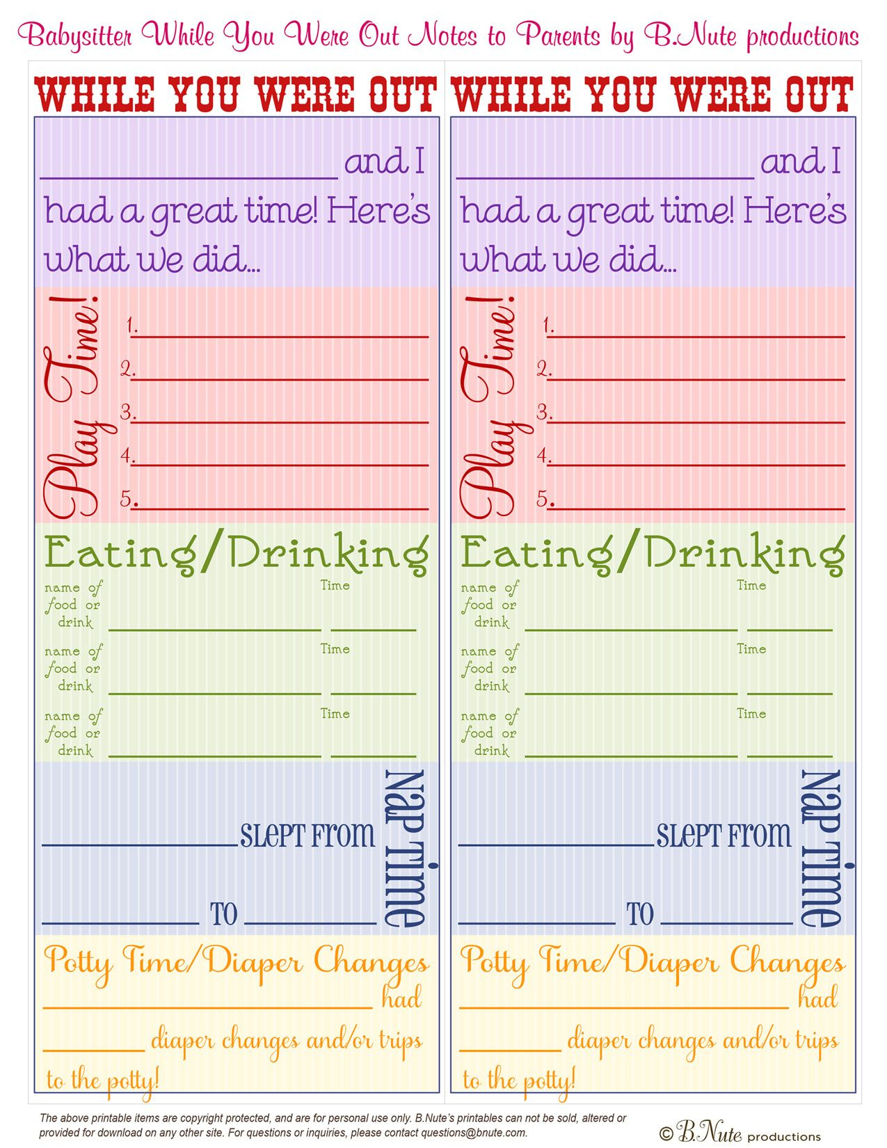 "Free Printables | Free Printable Babysitter ""while You Were Out - Babysitter Notes Free Printable"