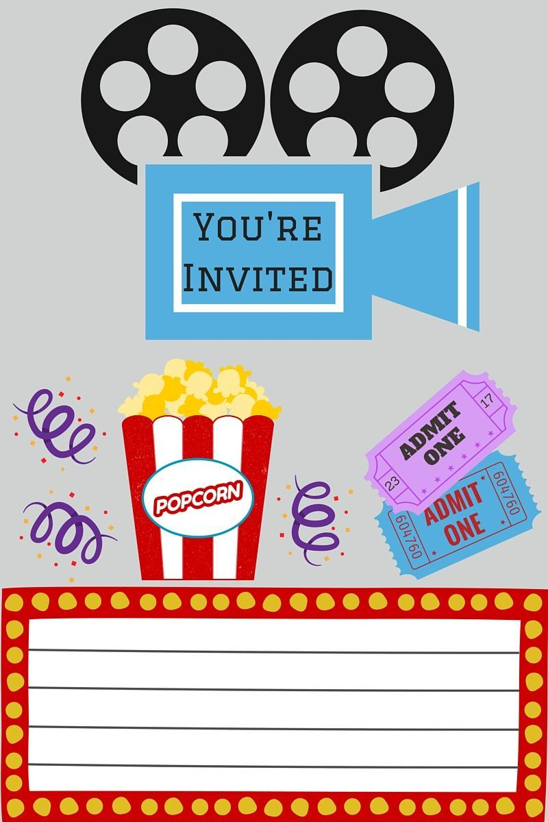 Free Printables | Printable Movie Night Invite | Card Making | Movie - Free Printable Movie Themed Invitations
