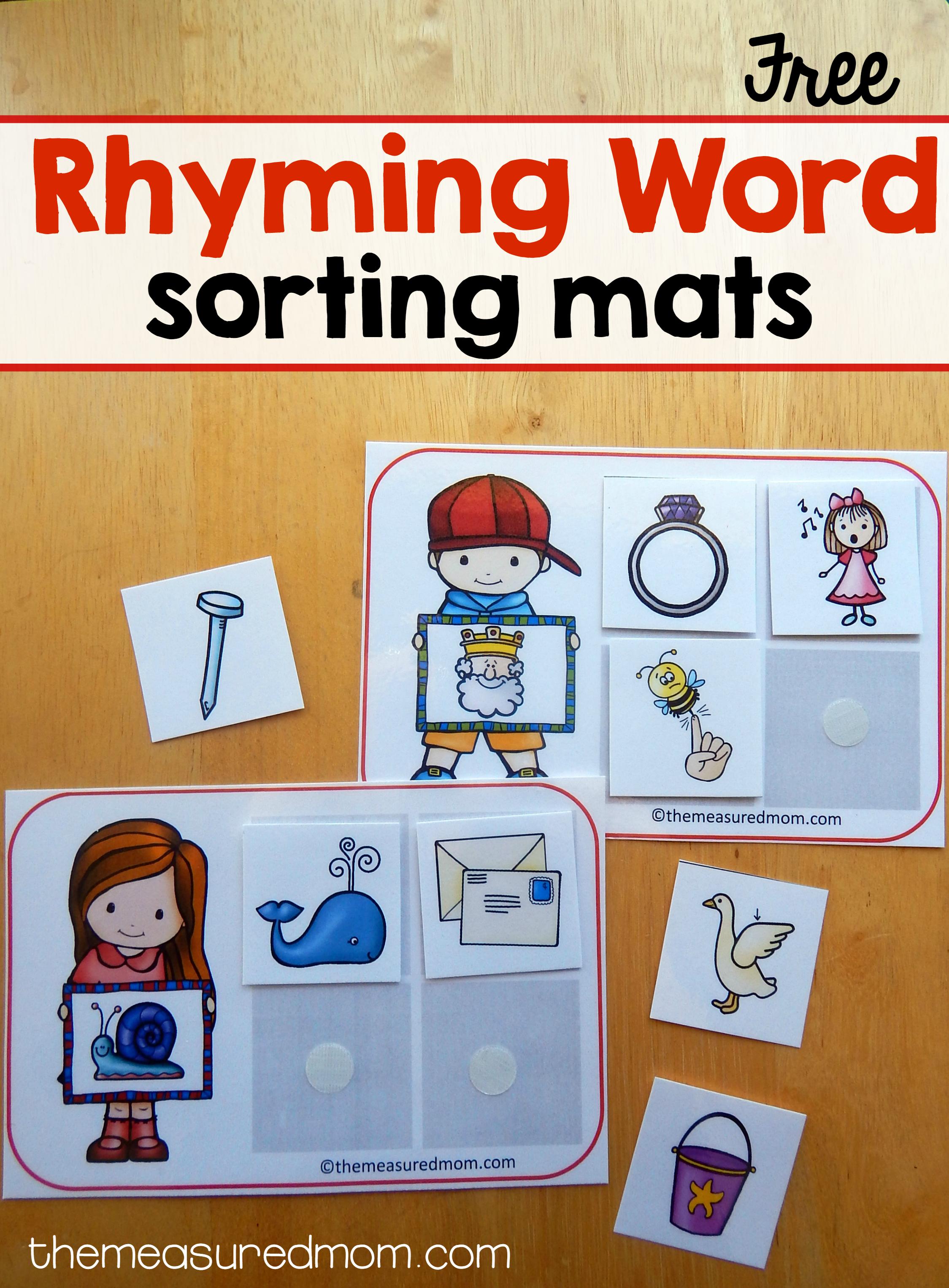 Free Printables - The Measured Mom - Free Printable Rhyming Words Flash Cards
