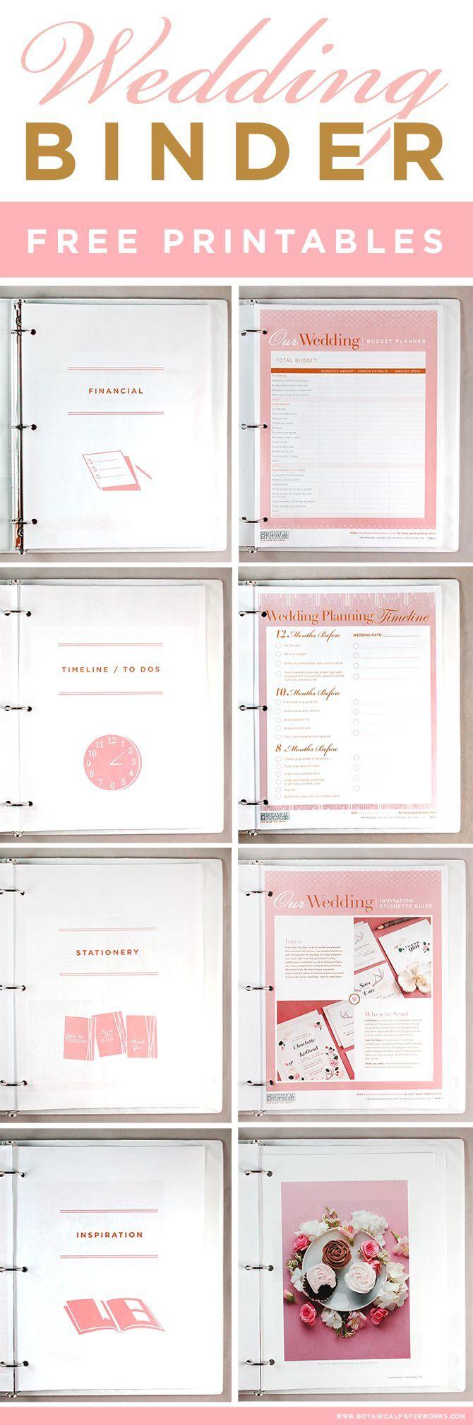 Free Printables} Wedding Planning Binder | Wedding Reception - Free Printable Wedding Planner