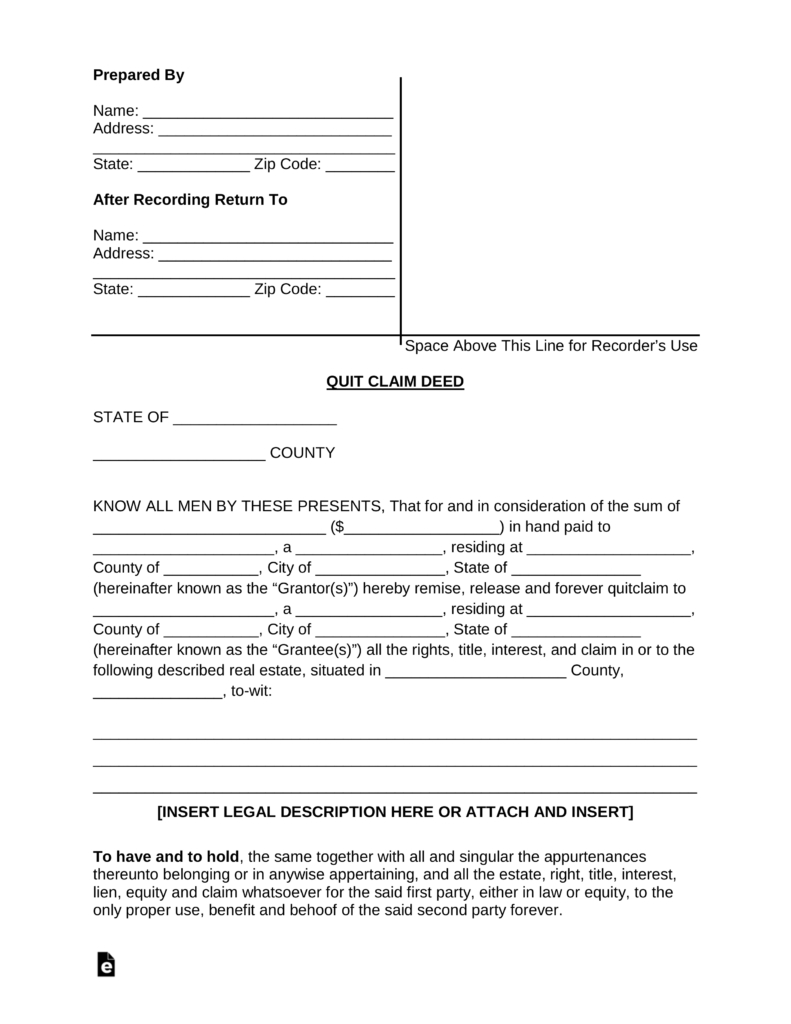Free Quit Claim Deed Forms - Pdf | Word | Eforms – Free Fillable Forms - Free Printable Quit Claim Deed Form