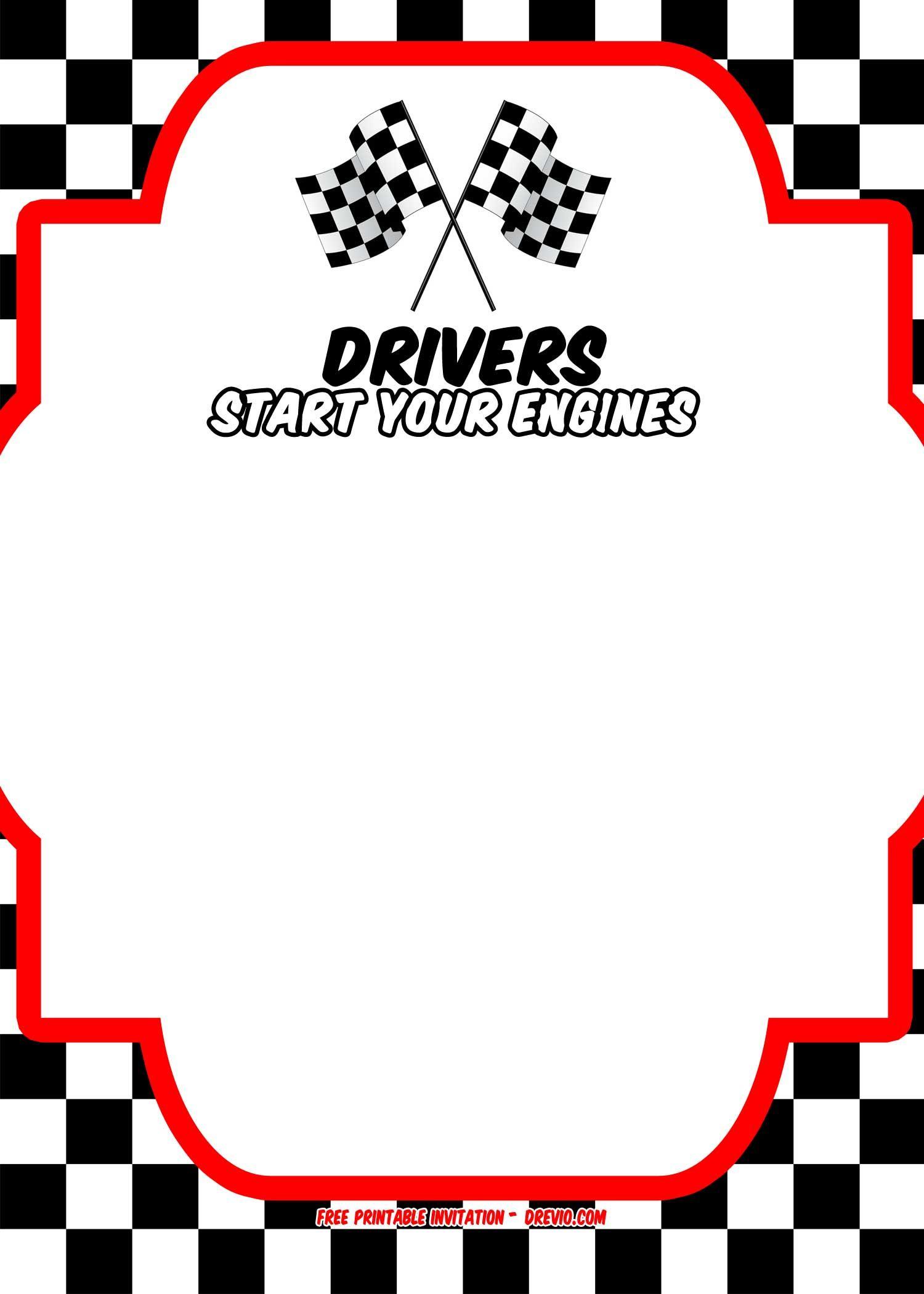 Free Race Car Birthday Invitation Template - | Free Printable - Free Printable Car Template