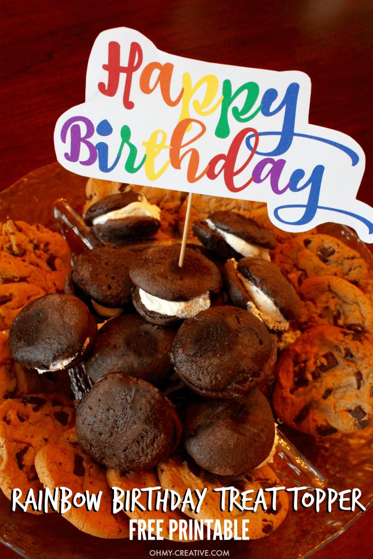 Free Rainbow Happy Birthday Printable - Oh My Creative - Free Printable Pictures Of Birthday Cakes