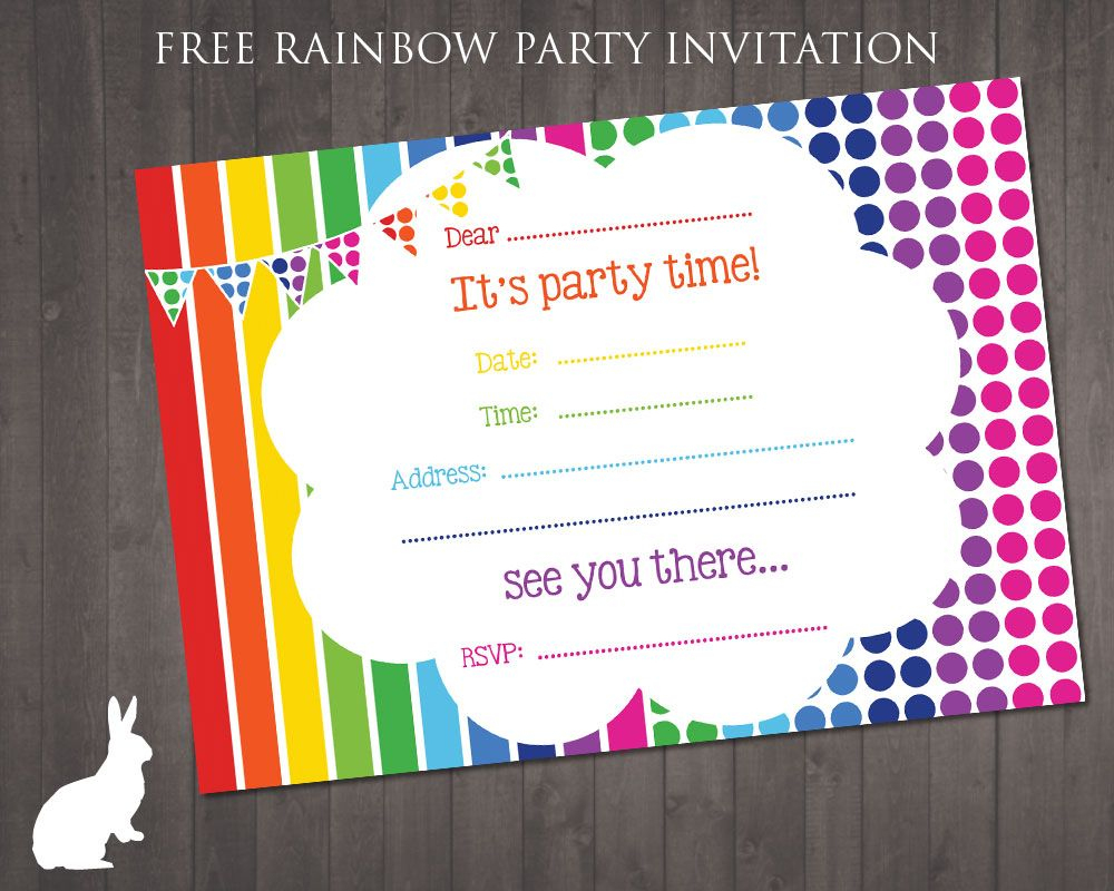 Free Rainbow Party Invitation | Ruby And The Rabbit | Rainbow Party - Free Printable Party Invitations
