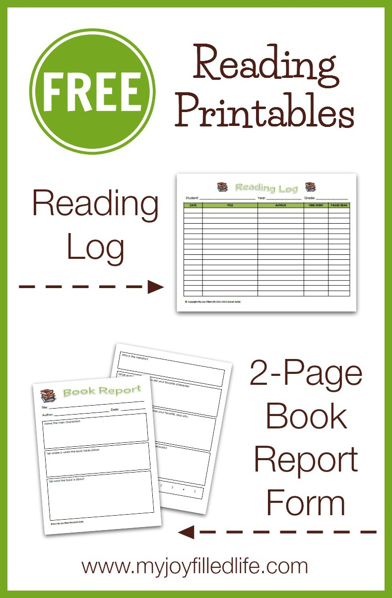 Free Reading Log & Book Report Form - My Joy-Filled Life - Book Report Template Free Printable