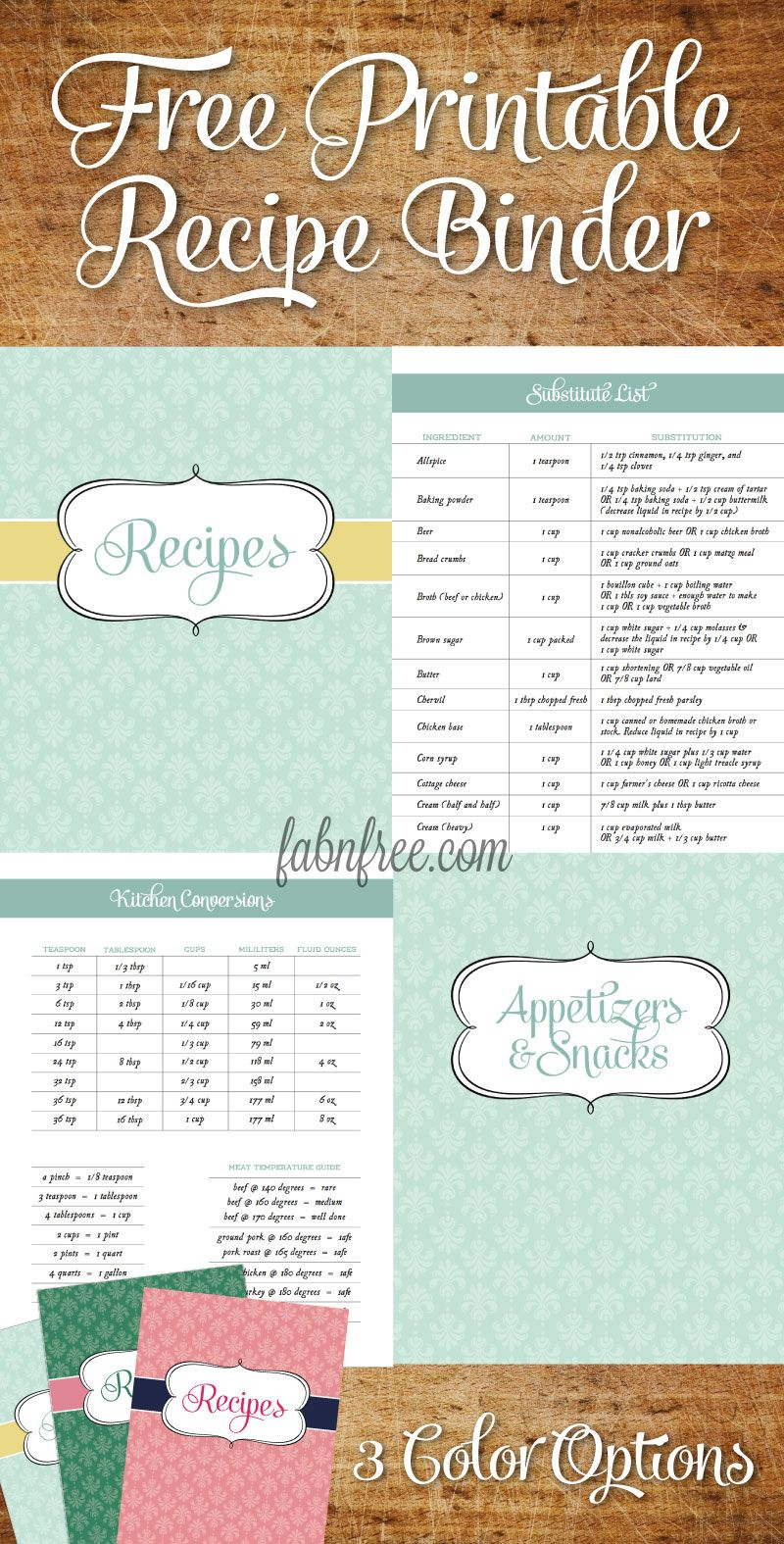 Free Recipe Binder In 3 Color Options | Pinterest | Livres De - Free Printable Recipes