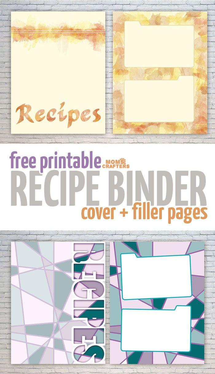Free Recipe Binder Printables | Moms And Crafters: On The Blog - Free Printable Recipe Binder