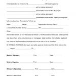 Free Recreational Vehicle (Rv) Bill Of Sale Form   Word | Pdf   Free Printable Legal Documents