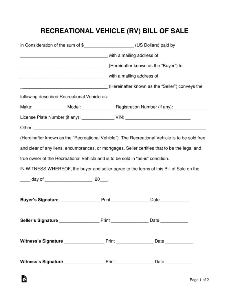 Free Recreational Vehicle (Rv) Bill Of Sale Form - Word | Pdf - Free Printable Legal Documents