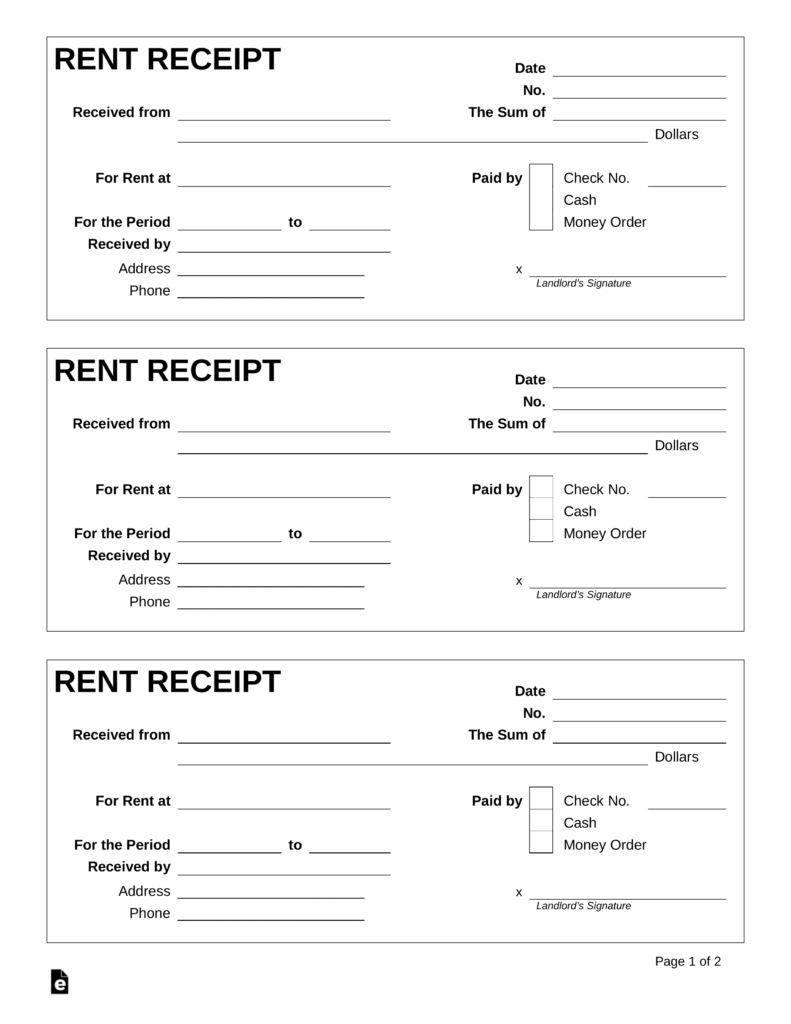 Free Rent Receipt Template - Pdf | Word | Eforms – Free Fillable Forms - Free Printable Blank Receipt Form