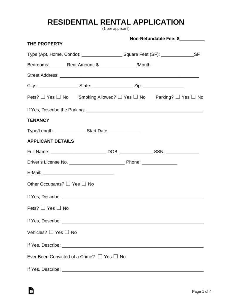 Free Rental Application Form - Pdf | Word | Eforms – Free Fillable Forms - Free Printable Rental Application