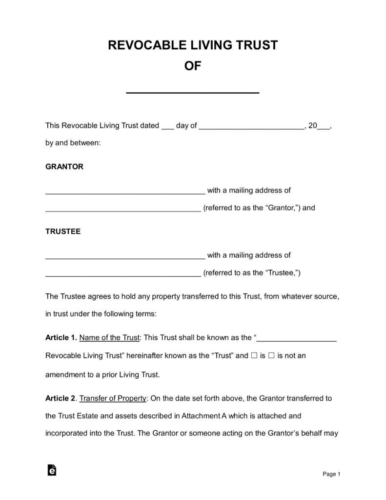 Free Revocable Living Trust Forms - Pdf   Word   Eforms – Free - Free Printable Will And Trust Forms
