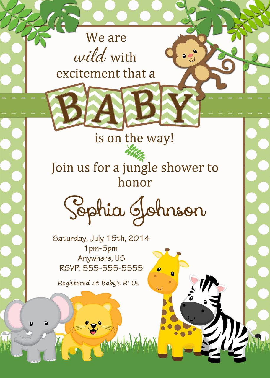 Free Safari Baby Shower Invitations - Google Search | Baby | Baby - Free Printable Jungle Safari Baby Shower Invitations
