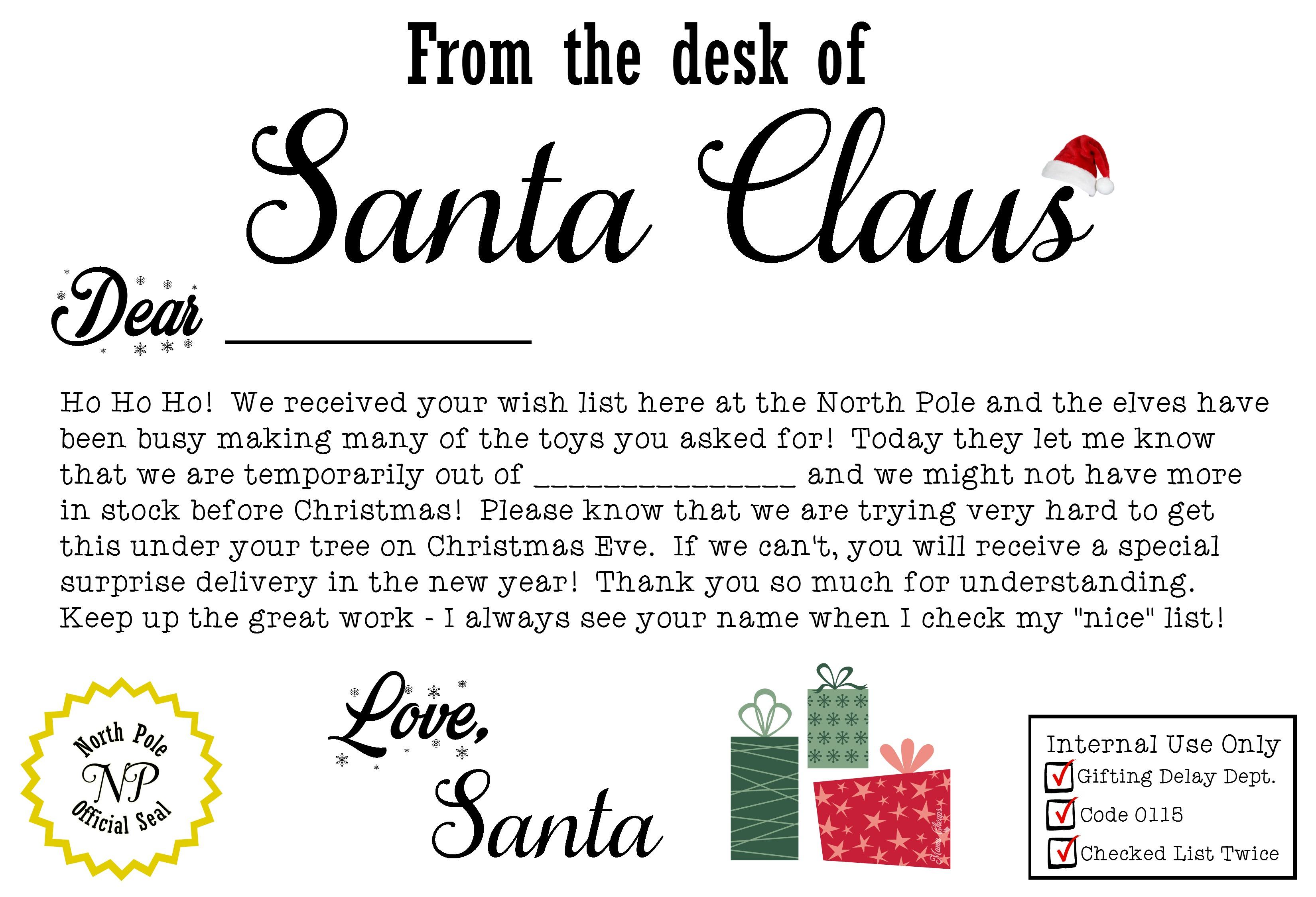 Free Santa Claus Christmas Present Iou Printable Letter   Mama Cheaps - Free Printable Christmas Letters From Santa