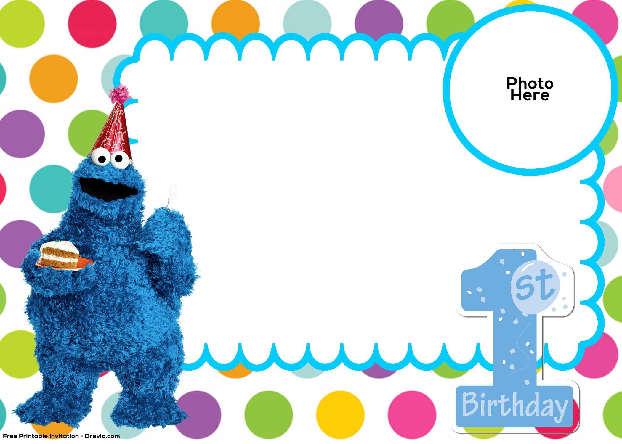 Free Sesame Street 1St Birthday Invitation | Free Printable - Free Printable Cookie Monster Birthday Invitations