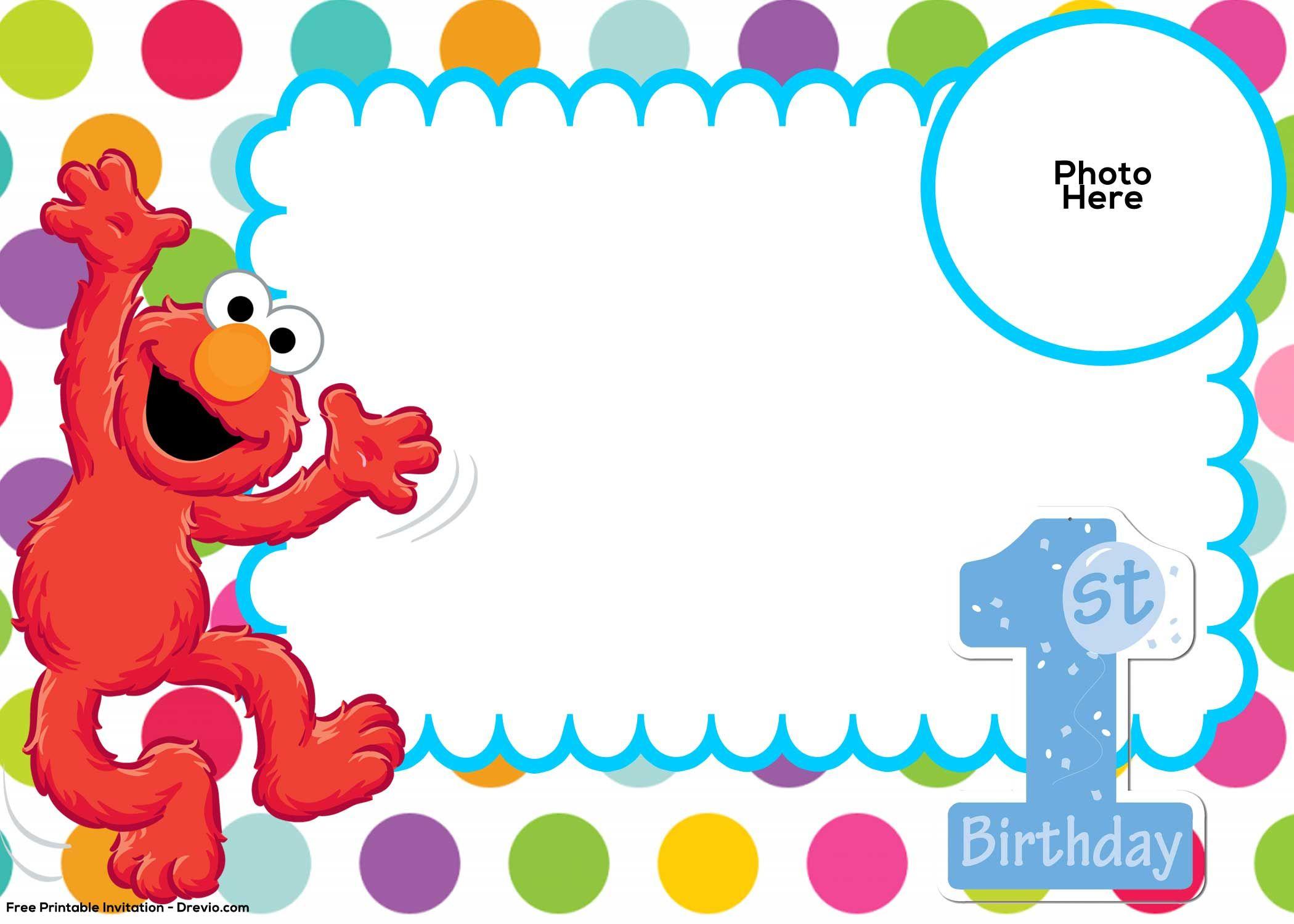 Free Sesame Street 1St Birthday Invitation Template | Drevio - Free Printable Sesame Street Cupcake Toppers