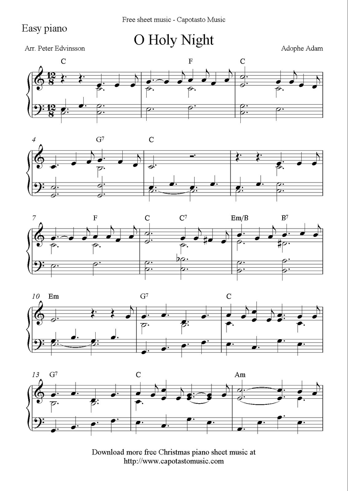Free Sheet Music Scores: Free Easy Christmas Piano Sheet Music, O - Free Printable Sheet Music For Piano