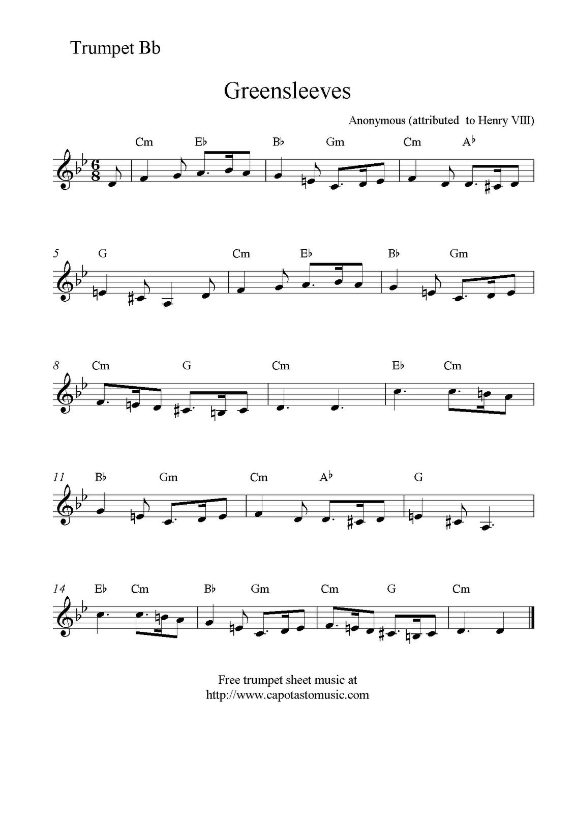 Free Sheet Music Scores: Greensleeves, Free Trumpet Sheet Music - Free Printable Sheet Music For Trumpet