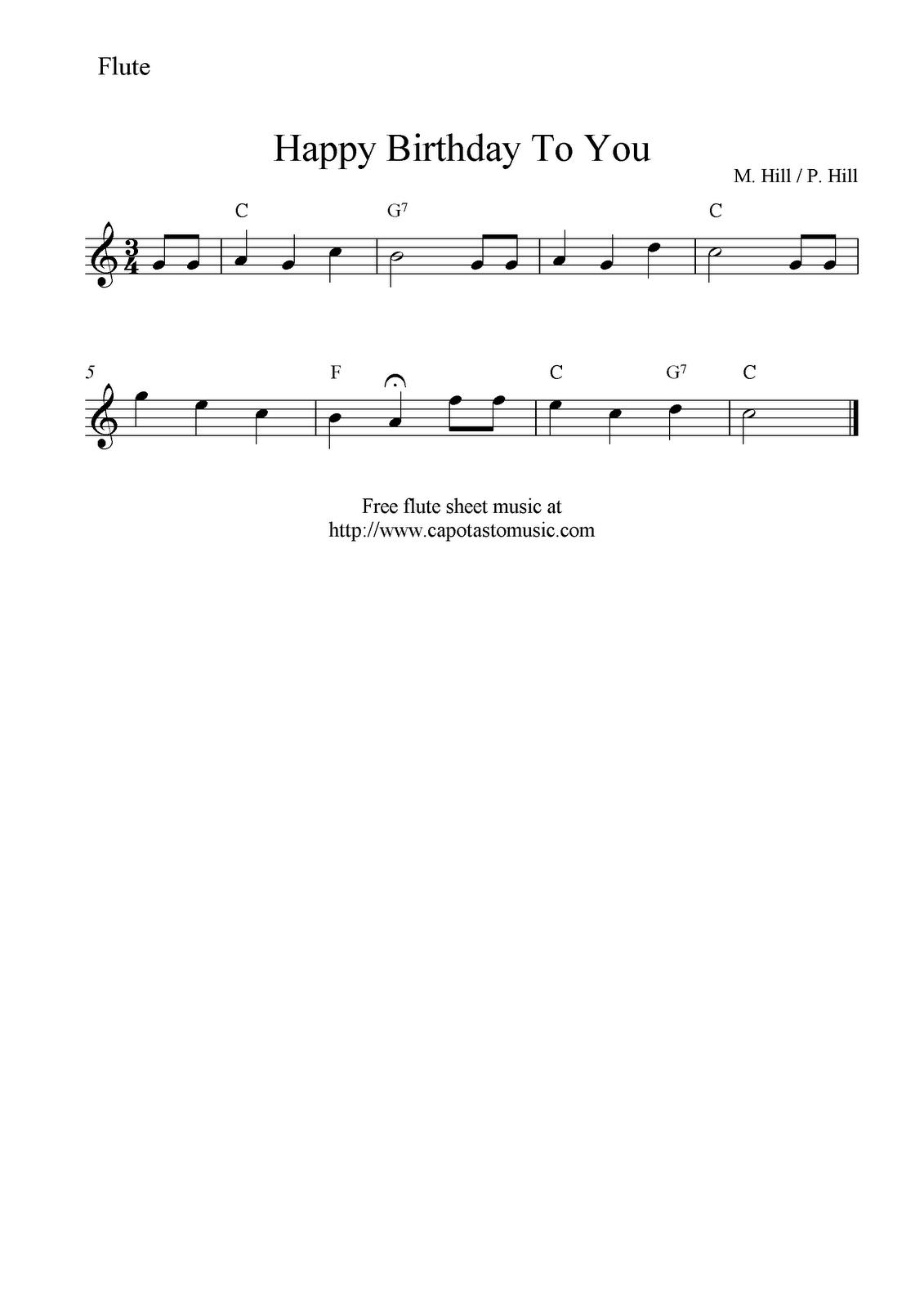 Free Sheet Music Scores: Happy Birthday To You, Free Flute Sheet - Free Printable Flute Music