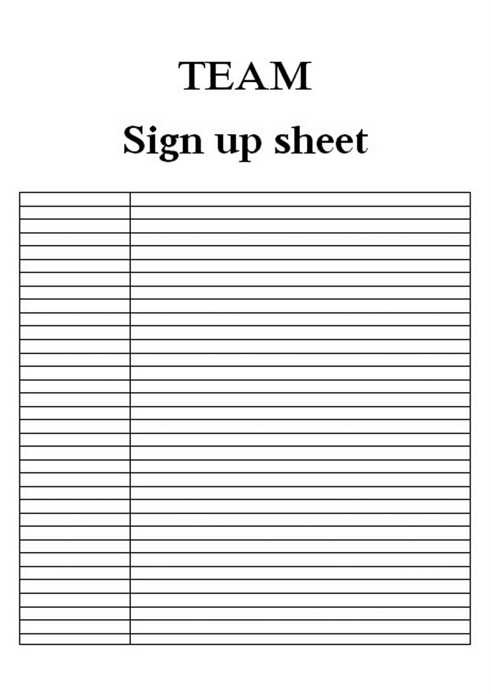 Free Sign Up Sheet Template | Hunecompany - Free Printable Sign Up Sheet