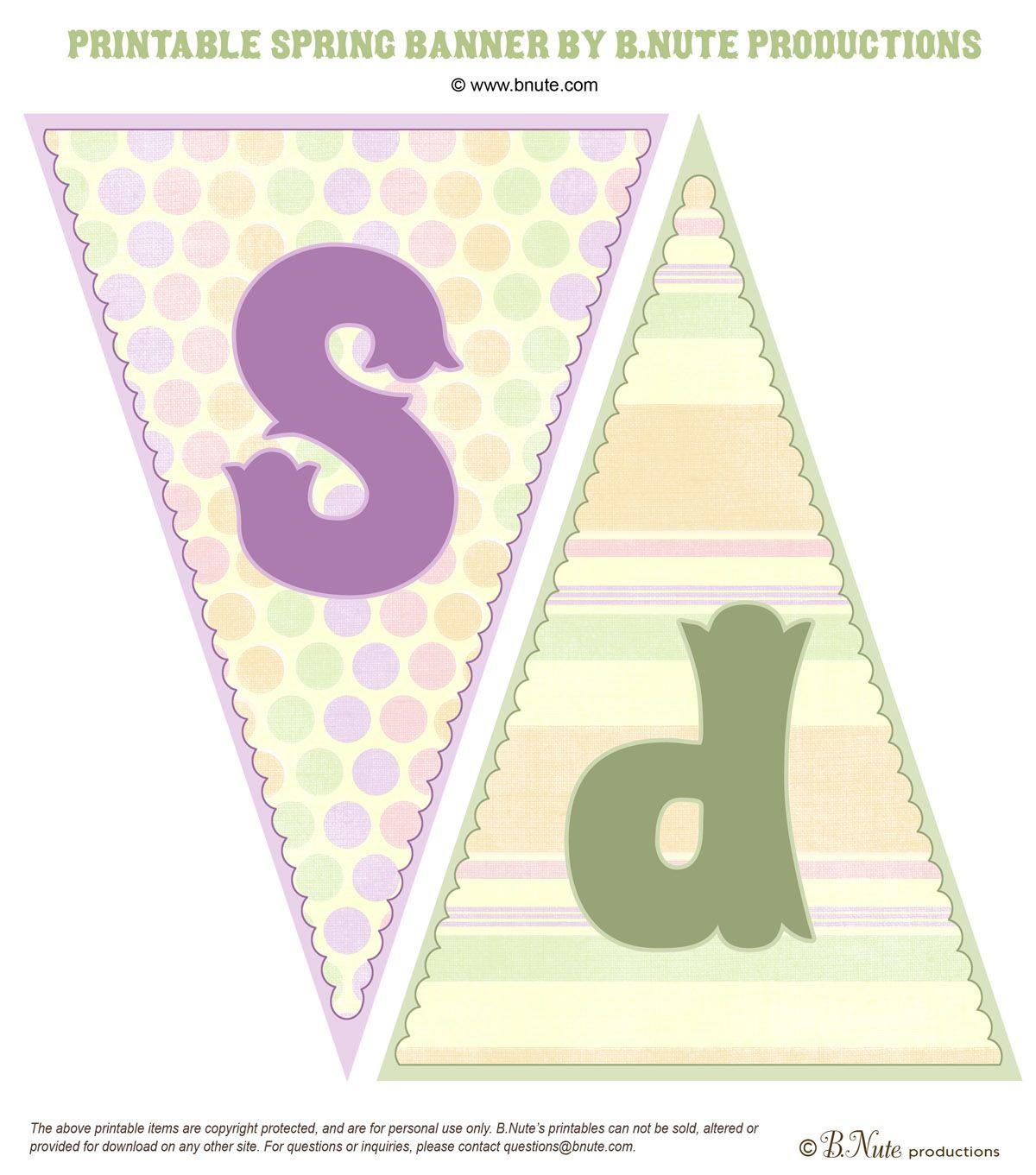 Free Spring Pennant Printable   Free Art Printables   Pinterest - Free Printable Spring Decorations