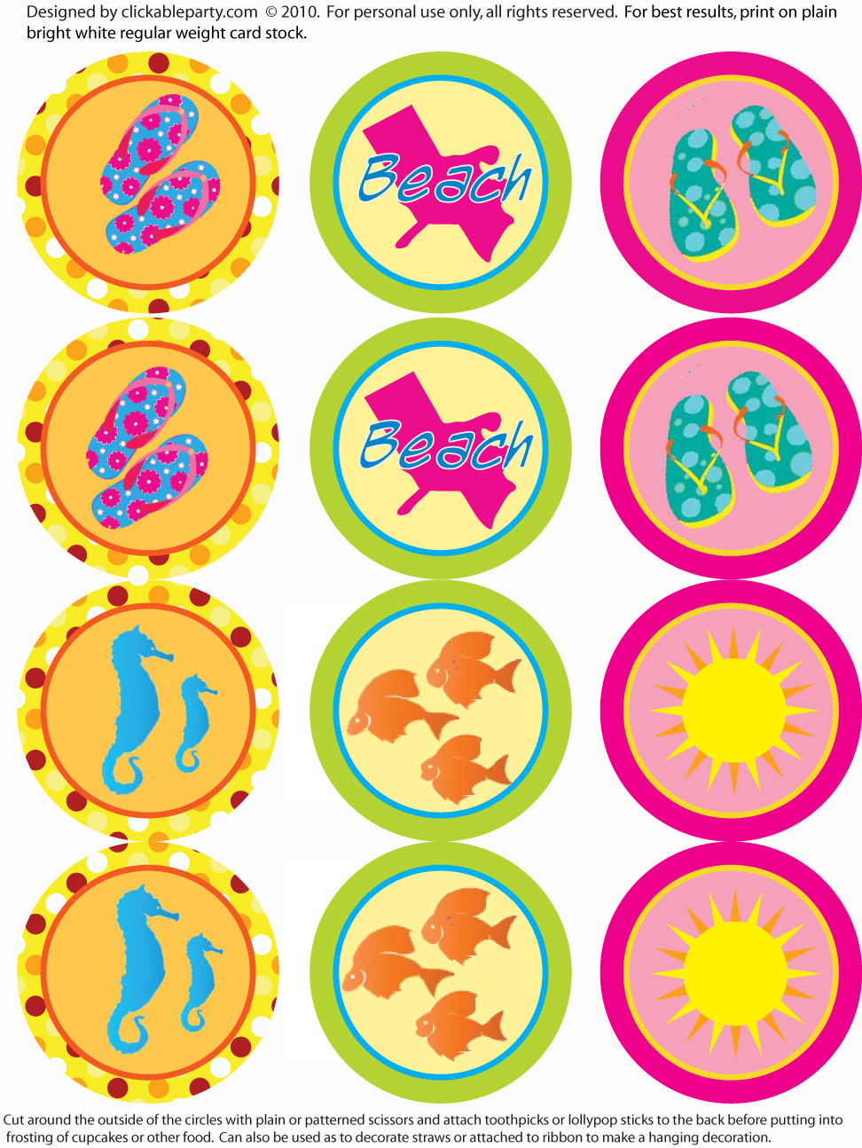 Free Summer Party Printables From Clickable Party   Catch My Party - Free Printable Party Circles