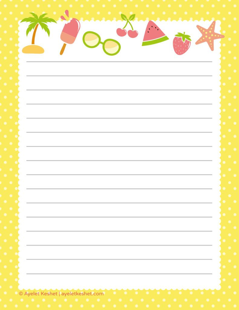 Free Summer Printables - Writing Paper 2 | My Saves | Pinterest - Free Printable Stationery