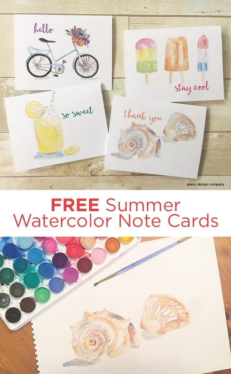 Free Summer Watercolor Note Cards: Printable Greeting Cards - Free Printable Funny Thinking Of You Cards