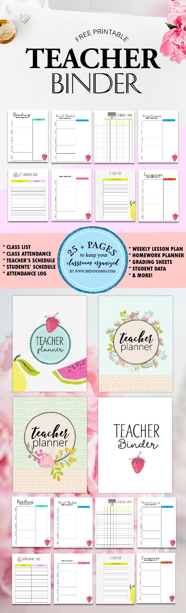 Free Teacher Binder Printables: Over 25 Pretty Planning Templates! - Free Printable Teacher Planner Pages
