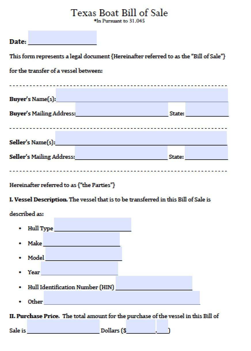 Free Texas Boat Bill Of Sale Form   Pdf   Word (.doc) - Free Printable Texas Bill Of Sale Form